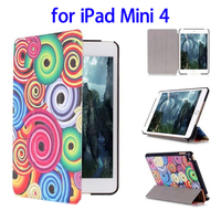 2015 Hot price stand hard cover for ipad mini 4 leather case Sleep Wake-up Function