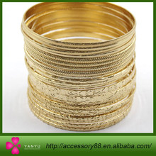 Imitation jewelry, Carved into different patterns gold plating bangle bracelet sets