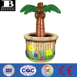 promotional custom made pvc inflatable palm tree cooler plastic plam tree beer bottle cooler ice cooler
