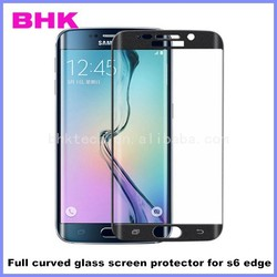 9H tempered silicone adhesive full curved glass screen protector for s6 edge, full curved screen protector tempered for s6 edge
