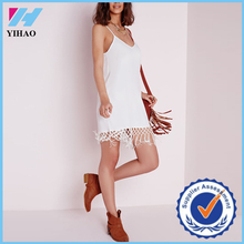 Yihao 2015 Summer New Arrival Fashion White Tassel Hem Dress Spaghetti Straps Sleeveless V-neck Casual Dress For Women