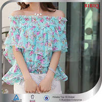 2015 lady Flower printed chiffon blouse
