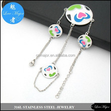 finger heart painted charm stainless steel bracelet jewelry for girl MJCX-124
