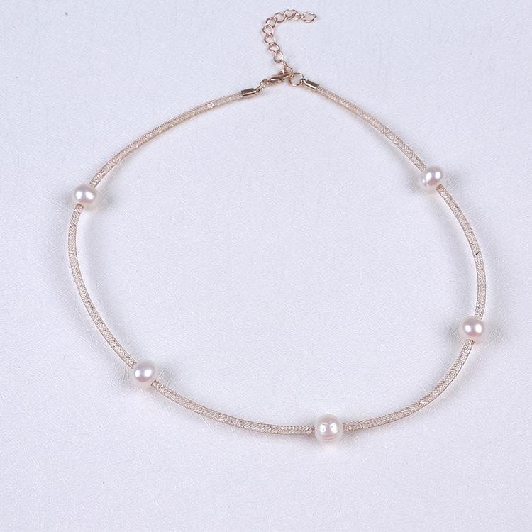 48 cm Pha Lê-đầy Vàng Tự Nhiên Pearls Choker Necklace