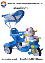 three wheels baby tricycle, baby stroller with canopy
