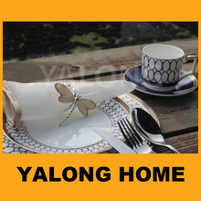 blue bone china modern dinner set with decal printing ceramicware