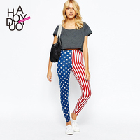 HAODUOYI Women American Flag Print Pants High Stretch Leggings for Wholesale