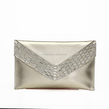 Latest Elegant Designer PU Leather Women Clutch Evening Bag with Rhinestone,Cheap Wholesale Price,Logo & Color Can Be Customized