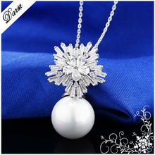 DLY Brand New Luxury jewelry AAA+ Zircon CZ Snowflake Design Pearl Pendant Necklace Earring Fashion Jewelry Set Top Quality