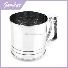 FDA/LFGB/SGS Bakeware Sifter Tools 5 Cup Stainless Steel Mirror Finish Professional Industrial Flour Sifter