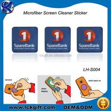 Novelty microfiber sticker mobile screen cleaner