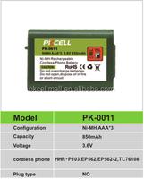 battery pack PK-0011 NIMH 850mAh 3.6V AAA rechargeable for HHR-P103