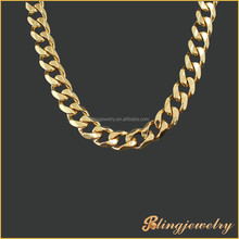 Hip hop bling jewelry 12mm gold Miami cuban link chain necklace new gold chain design for men