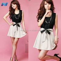 New Womens Fashion Korea Style Sleeveless Elastic Waist Dress Color Block Mini Dress With Belt 2012