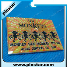 wholesale custom square metal monkey pin badge with flashing