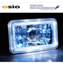 7 inch Square BMC CRYSTAL GLASS white halo ring 12V/24VAuto Halogen Semi Sealed Beam Auto Halogen Lamp Install H4 or HID