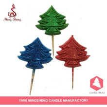 3 color paraffin wax christmas tree candle