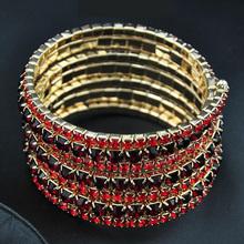 multi row rivet ruby stretchy bracelet bijoux