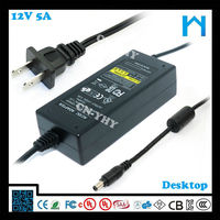 ul power supply cord ac dc adapter for camera ac dc adapter factory 12V 5A UL CE GS SAA 60W