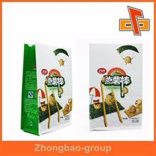 Nice printing plastic flat bottom quad seal bag 8 side sealed pouch for potato sticks