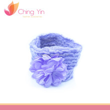 Big Flower Light Purple Elastic Hair Wrap Headband Hair Accessories for Newborn Infant Baby Girls