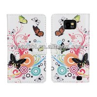 Butteryfly Flower PU Book Wallet Leather Case For Samsung Galaxy S2 SII i9100 case