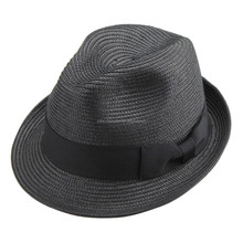 Men or women black color pp braid summer fedora hats with matching grossgrain trimband warehouse style with cheap price