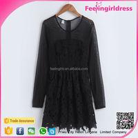 Fitness Wholesale Long Sleeve Black Micro Mini Dress