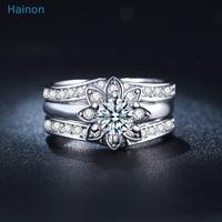 women new design flower platinum 3pcs finger ring sets for wedding