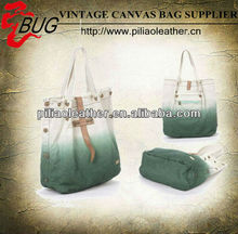 dip-dye canvas tote bag and leather beach bag