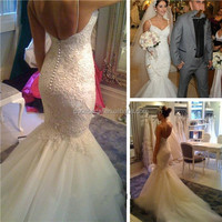 2014 Glamorous White Applique Lace Mermaid Backless Wedding Dresses Sequins Backless Sexy Sleeveless Court Train Bridal Gowns