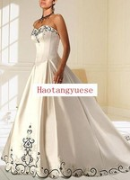 Ivory A-line Strapless Embroidery Satin Wedding Dresses cheap