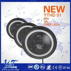 "High Output Y&T For Harley Hi/Lo Beam DRL Turn Signal Angel-Eye light 7"" Motorcycle LED Headlamp"