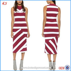 Latest fashion dress design photo women dress with asymmetrical touch ribbed knit midi dress