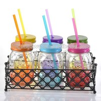Colored decorative glass mason jar with screw top lid and metal holder