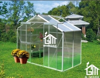 G-MORE Aluminum Greenhouse, Traditional Series, Lockable Double Doors, PC Insert System, Full Roof & Wall Bracing - 4'x8'FT