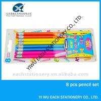 8 pcs HB fluorescent pencil set