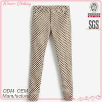 Best price ladies new fashion grid printed uk size pants