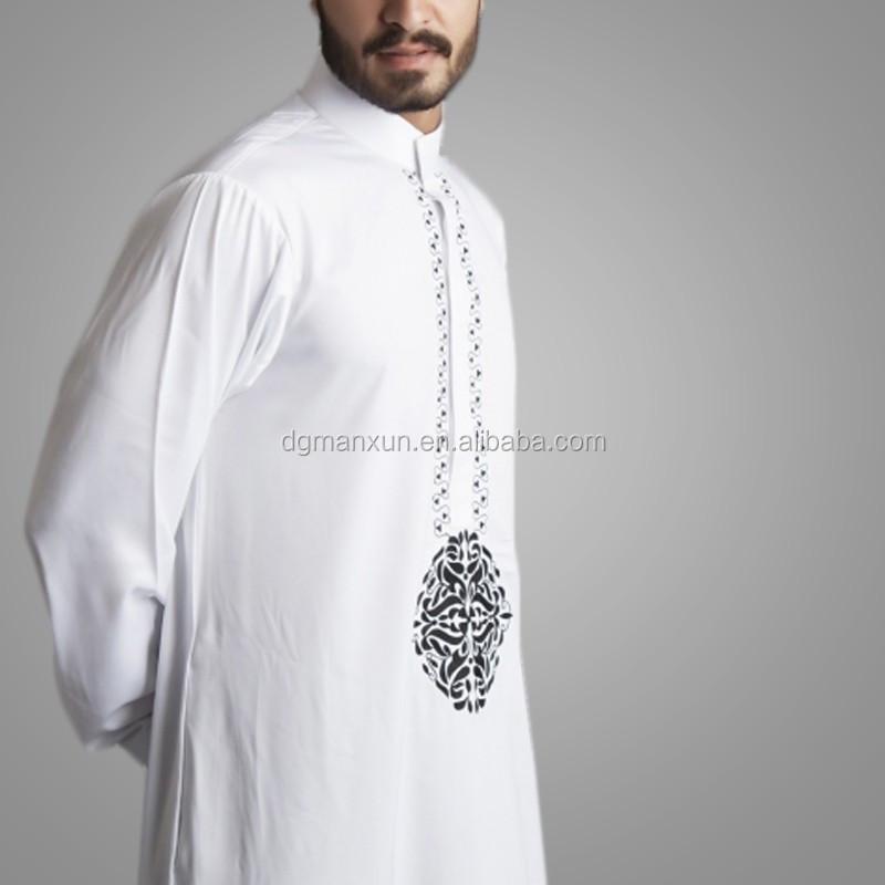2016 New Style Dubai Thawb Muslim Men Thobe Embroidered Islamic Abaya 3.jpg