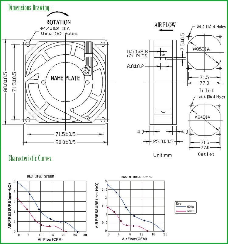 80x80x25mm 110v 220v 80mm ac cabinet motor cooling fan