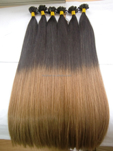 Raw virgin human hair extension two tone color remy human hair