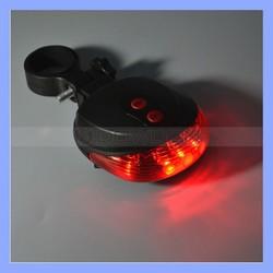 5 LED +2 Laser Bike Flashing Light Cycling Bicycle Rear Tail Safety Warning Lamp