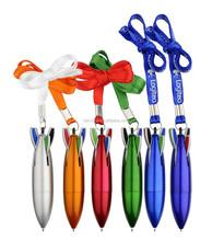 Novelty Rocket shaped four color lanyard pen