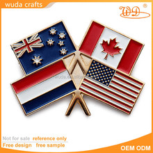 Variety countries misty copper plating soft enamel flag metal badge