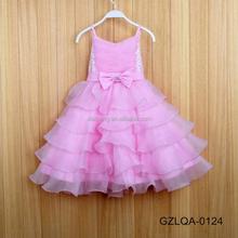 Trade assurancehot sale pink color 100% cotton plain dyed crepe flower girl dress