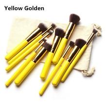 Premium 10 Piece Synthetic Kabuki Makeup Brush Set Blending Eye shadow Brush With Bag