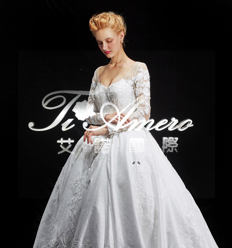 2015 guangdong latest designs lace royal white wedding for Brand name wedding dresses