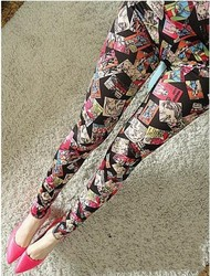 China Wholesale Milk Silk Thin Section Printing Little Girls Photos Casual Sexy Tight Leggings 9539