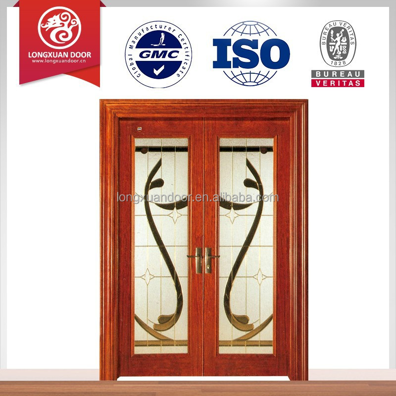 2015 latest new design glass sliding door with wood frame for New latest door design