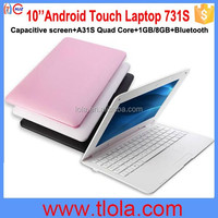 Hot Selling 10'' Android Notebook with Quad Core A31S 1GB RAM 8GB HDD Support Bluetooth 731S